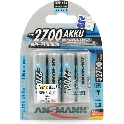 ANSMANN NiMH Akku Premium, Mignon AA, 2.700 mAh, 4er-Blister