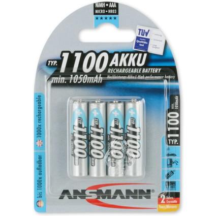 ANSMANN NiMH Akku Premium, Micro AAA, 1.100 mAh, 4er Blister