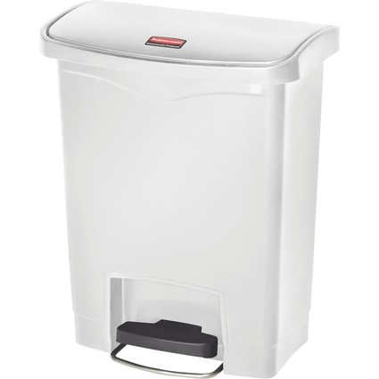 Rubbermaid Tret-Abfalleimer Slim Jim, 30 Liter, weiß