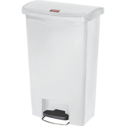 Rubbermaid Tret-Abfalleimer Slim Jim, 50 Liter, weiß