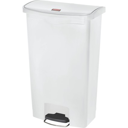 Rubbermaid Tret-Abfalleimer Slim Jim, 68 Liter, weiß