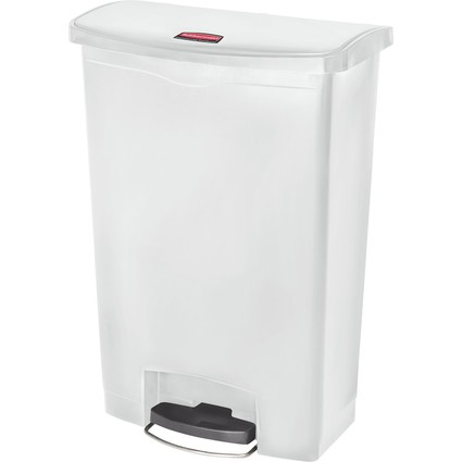 Rubbermaid Tret-Abfalleimer Slim Jim, 90 Liter, weiß
