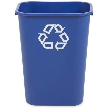Rubbermaid Papierkorb, 39 Liter, rechteckig, PE, blau