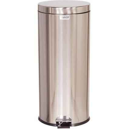 Rubbermaid Tret-Abfalleimer, rund, 30,3 Liter, edelstahl