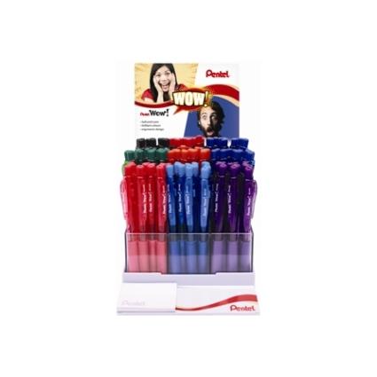 Pentel Druckkugelschreiber WOW BK440, Thekendisplay, farbig