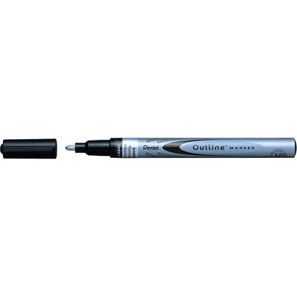 PentelArts Lackmarker Outline Marker, silber/schwarz