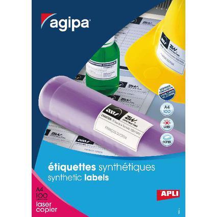 agipa Wetterfeste Folien-Etiketten, 210 x 297 mm, weiß