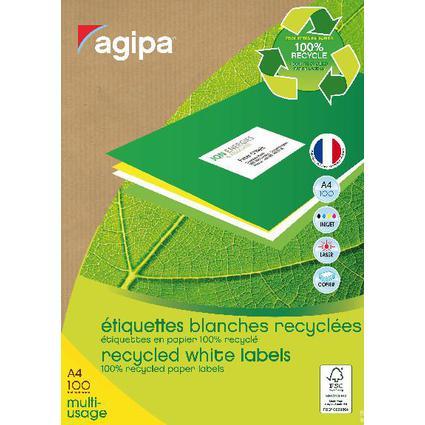 agipa Recycling Vielzweck-Etiketten, 105 x 35 mm, weiß