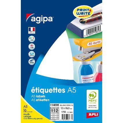 agipa Universal-Etiketten, 12 x 18,3 mm, weiß