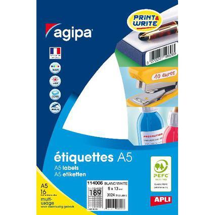agipa Universal-Etiketten, 9 x 13 mm, weiß