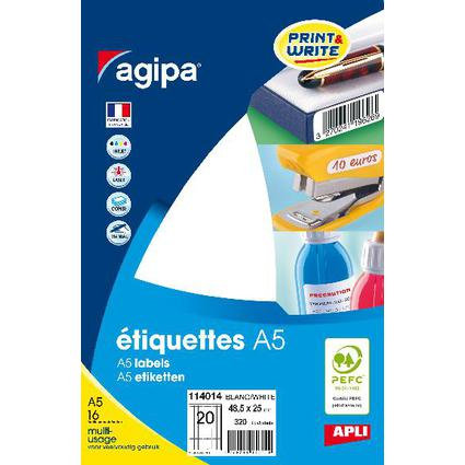 agipa Universal-Etiketten, 25 x 48,5 mm, weiß