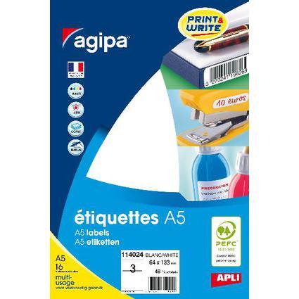 agipa Universal-Etiketten, 64 x 133 mm, weiß