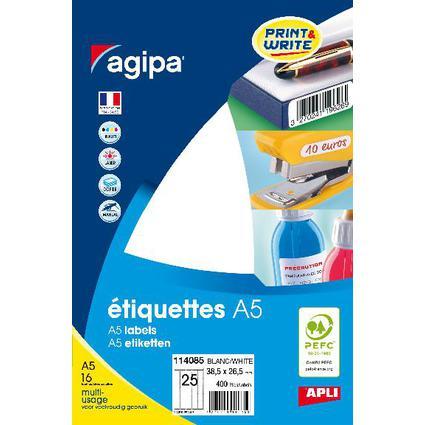agipa Universal-Etiketten, 38,5 x 26,5mm, weiß
