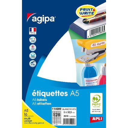 agipa Universal-Etiketten, 6 x 33,5 mm, weiß