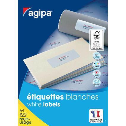 agipa Universal-Etiketten, 48,5 x 25,4 mm, weiß, rechteckig