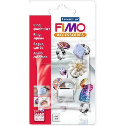 FIMO Ring, mit quadratischer Wanne, auf Blisterkarte