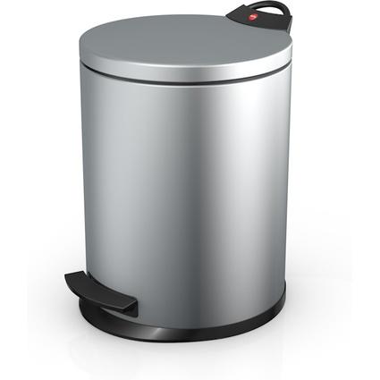 Hailo Tret-Abfalleimer T2 M, rund, 11 Liter, silber