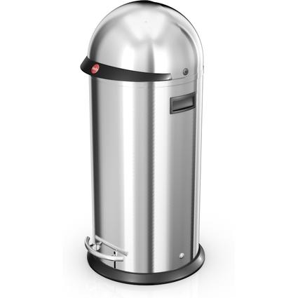 Hailo Tret-Abfalleimer KickVisier 50, rund, 50 Liter, silber
