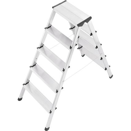 Hailo Alu-Doppelstufenleiter L90, 2 x 5 Stufen