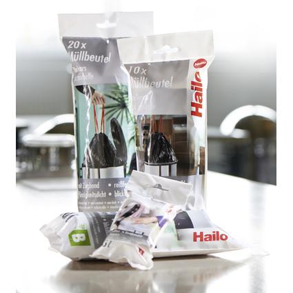 Hailo Mülleimerbeutel, mit Zugband, grau, 20 Liter