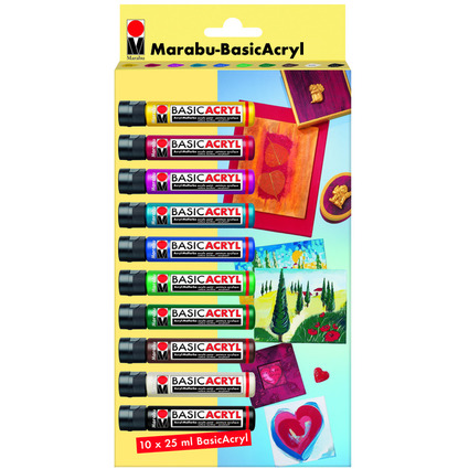 "Marabu Acrylfarbe ""BasicAcryl"", Starter Set 10 x 25 ml"