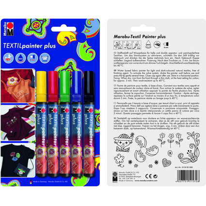 "Marabu Textilmarker ""Textil Painter Plus"", 5er Blister"