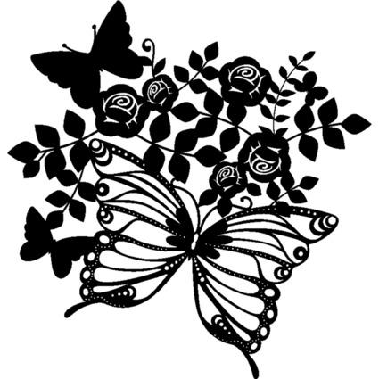 """Marabu Silhouetten-Motivschablone """"Butterflies & Roses"""""""