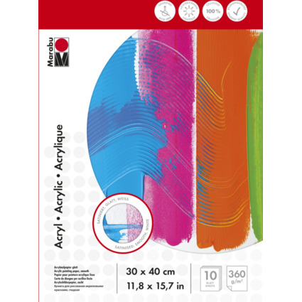 Marabu Acrylmalblock, 300 x 400 mm, 360 g/qm, 10 Blatt