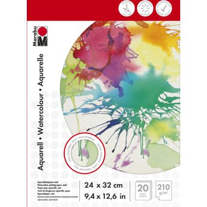 Marabu Aquarellblock, 240 x 320 mm, 210 g/qm, 20 Blatt