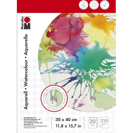 Marabu Aquarellblock, 300 x 400 mm, 210 g/qm, 20 Blatt