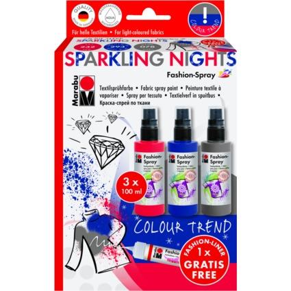 "Marabu Textilsprühfarbe ""Fashion-Spray"", Set Sparkling Night"