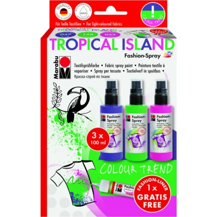 "Marabu Textilsprühfarbe ""Fashion-Spray"", Set TROPICAL ISLAND"