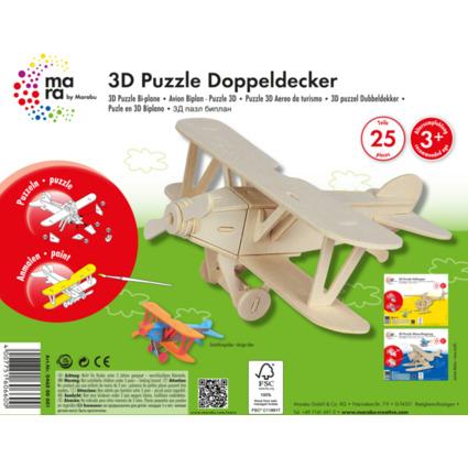 "mara by Marabu 3D Puzzle ""Flugzeug Doppeldecker"""