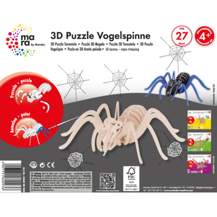 "mara by Marabu 3D Puzzle ""Vogelspinne"", 27 Holzteile"