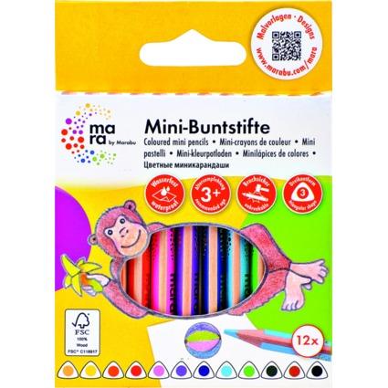 mara by Marabu Dreikant-Mini-Buntstifte, 12er Karton-Etui