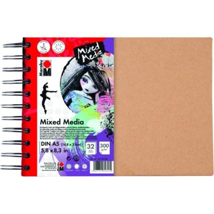 "Marabu Spiralbuch ""Mixed Media"", DIN A5, 300 g/qm, 32 Blatt"