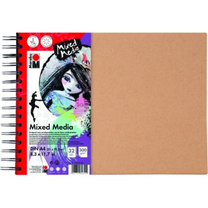 "Marabu Spiralbuch ""Mixed Media"", DIN A4, 300 g/qm, 32 Blatt"