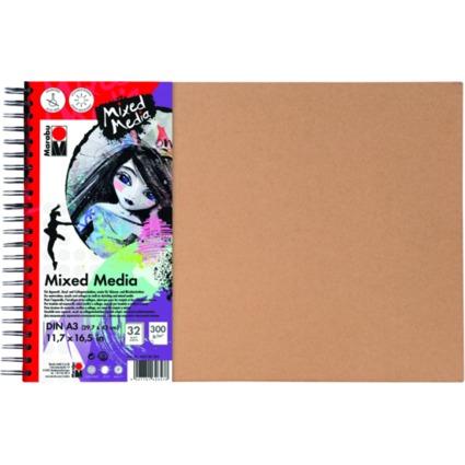 "Marabu Spiralbuch ""Mixed Media"", DIN A3, 300 g/qm, 32 Blatt"