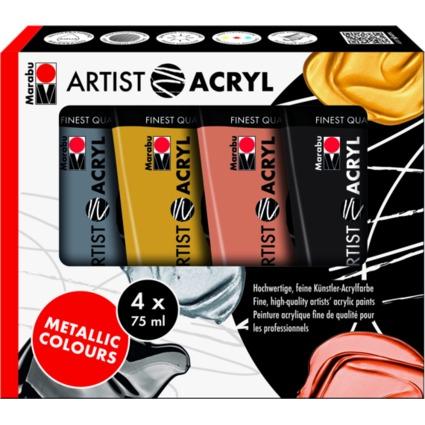 "Marabu Acrylfarben-Set ""Artist Acryl"", Metallic, 4 x 75 ml"
