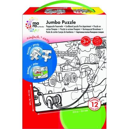 """mara by Marabu Jumbo Ausmal-Puzzle """"Feuerwehr"""", 12 Teile"""