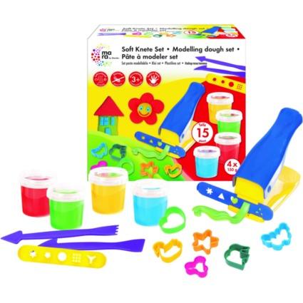 mara by Marabu Spielknete-Set, 4 Basisfarben + Zubehör