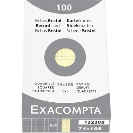EXACOMPTA Karteikarten, DIN A7, kariert, gelb