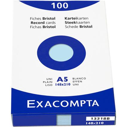 EXACOMPTA Karteikarten, DIN A5, blanko, azurblau