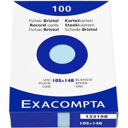EXACOMPTA Karteikarten, DIN A6, blanko, azurblau