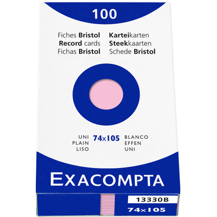 EXACOMPTA Karteikarten, DIN A7, blanko, rosa