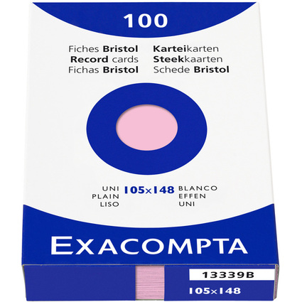 EXACOMPTA Karteikarten, DIN A6, blanko, rosa