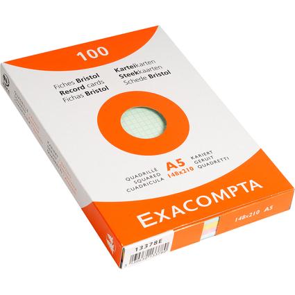 EXACOMPTA Karteikarten, DIN A5, kariert, farbig sortiert