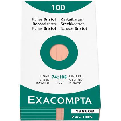 EXACOMPTA Karteikarten, DIN A7, liniert, orange