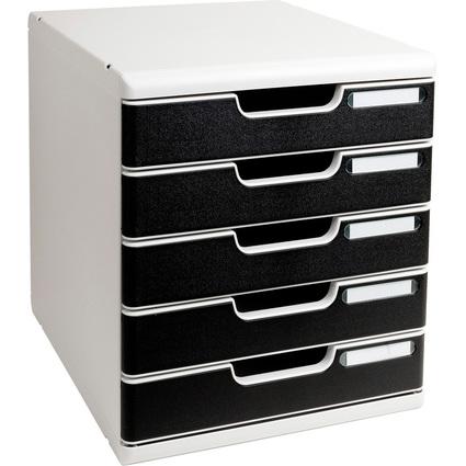 EXACOMPTA Schubladenbox MODULO A4, 5 Schübe, schwarz