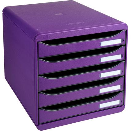EXACOMPTA Schubladenbox BIG-BOX PLUS, 5 Schübe, violett